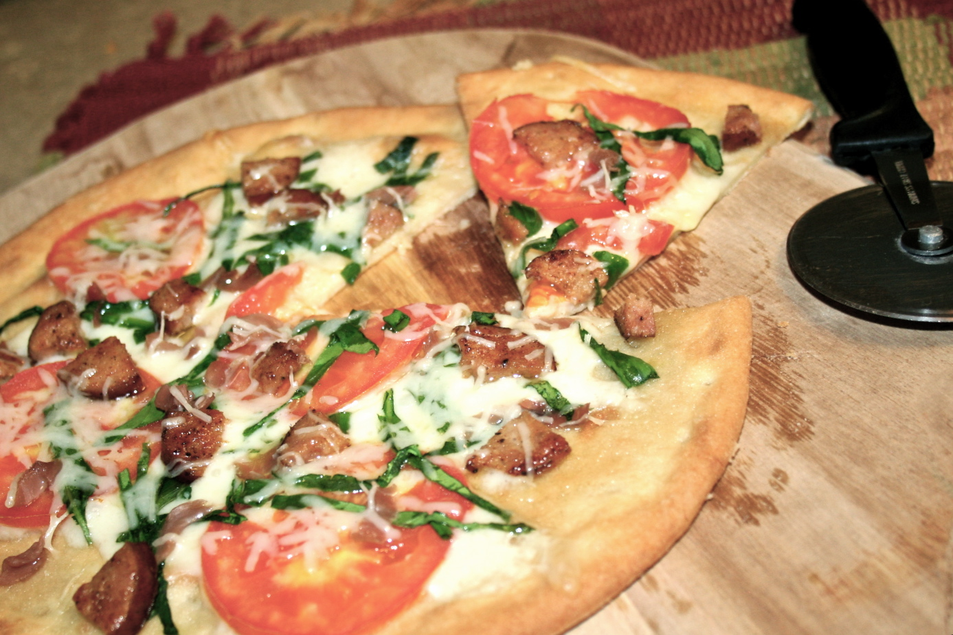 Sausage, Tomato and Basil Pizza