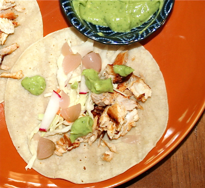 Spicy fish tacos with avocado yogurt sauce fresh ingredients for Fish taco sauce yogurt